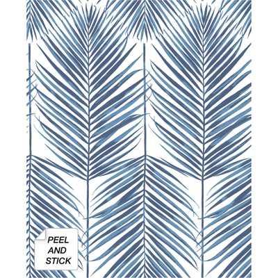 NextWall Coastal Blue Paradise Palm Peel and Stick Wallpaper 30.75 sq. ft. - Home Depot
