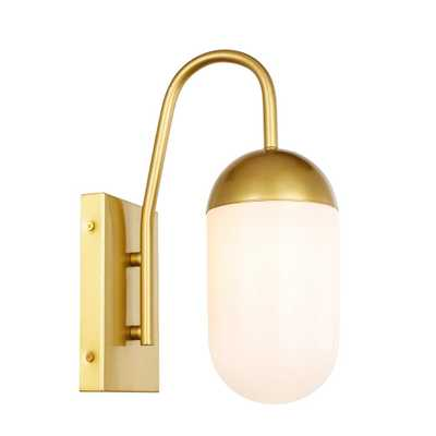 ELEGANT FURNITURE & LIGH Timeless Home Kendra 4.8 in. W x 13.5 in. H 1-Light Brass and frosted White Glass Wall Sconce - Home Depot