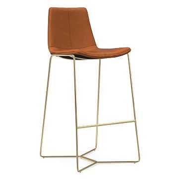 Slope Bar Stool, Vegan Leather, Saddle, Antique Brass - West Elm