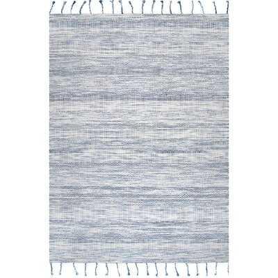 Striped Handmade Looped/Hooked Cotton Blue Area Rug - Wayfair