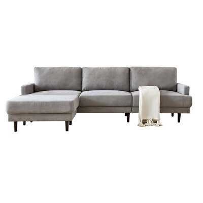 3 Seater Modern Fabric L Shape Sofa With Ottoman (blue) - Wayfair