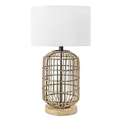 nuLOOM 25 in. Brass Gretna Rattan & Iron Indoor Table Lamp - Home Depot