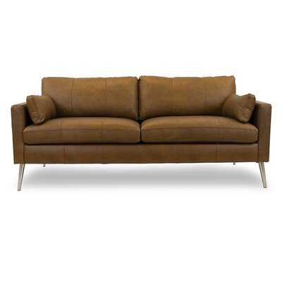 "Gaia Genuine Leather 81"" Square Arm Sofa - Wayfair"