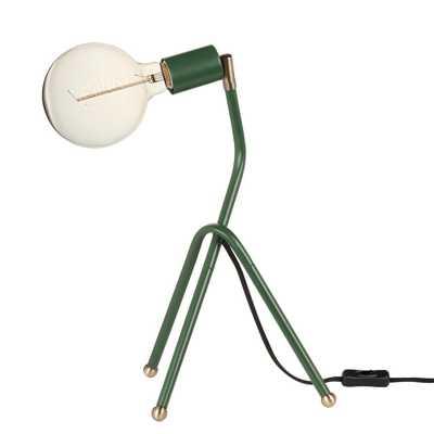 "Novogratz x Globe Electric 16"" Eden Green Desk Lamp with Black Fabric Cord - Home Depot"