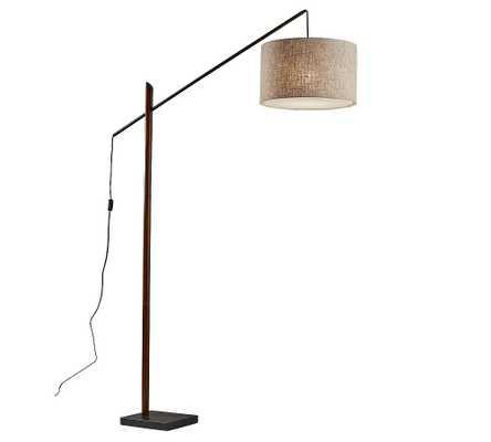 Cornelius Wood Arc Sectional Floor Lamp, Black & Walnut - Pottery Barn