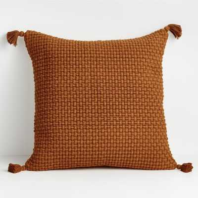"Elna 23"" Rugby Tan Fringed Pillow with Feather-Down Insert - Crate and Barrel"
