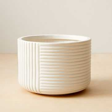 Cecilia Tabletop Planters, Small, White, Earthenware - West Elm