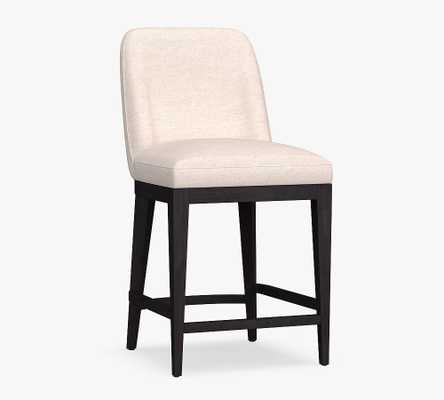 Layton Upholstered Counter Height Bar Stool, Black Leg, Brushed Crossweave Light Gray - Pottery Barn