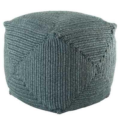 Bridgehampton Indoor/ Outdoor Solid Teal Cube Pouf - Collective Weavers