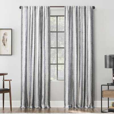 Senita Slub Texture Cotton Striped Sheer Rod Pocket Single Curtain Panel - AllModern