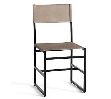 Hardy Leather Dining Chair, Bronze/Morrison Gray Leather - Pottery Barn