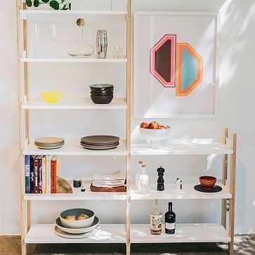 Floyd Short Bookshelf, White, Ash + White - West Elm