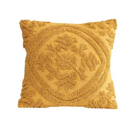 Square Mustard Color Cotton Woven Looped Pillow - Moss & Wilder