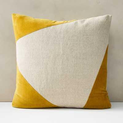 """Cotton Linen + Velvet Corners Pillow Cover with Down Alternative Insert, Dark Horseradish, 24""""x24"""" - West Elm"""