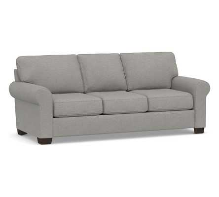 """Buchanan Roll Arm Upholstered Sofa 87"""", Polyester Wrapped Cushions, Performance Heathered Basketweave Platinum - Pottery Barn"""
