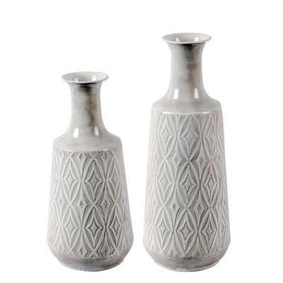 Winsome House 2-Piece Metal Damask Vase Set, Grey - Home Depot