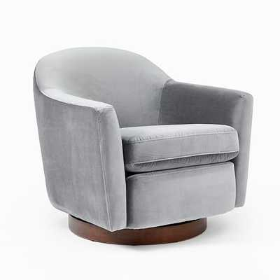Haven Swivel Chair, Poly, Astor Velvet, Nickel, Dark Walnut - West Elm