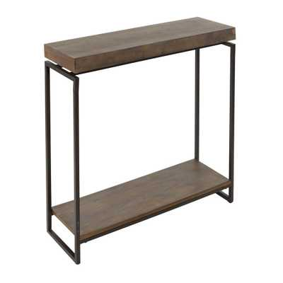 Silverwood Furniture Reimagined Bronson Gunmetal Gray and Wood Floating Top Slim Console Table - Home Depot