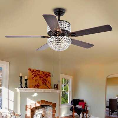 """52"""" Caruthersville 5 Blade Ceiling Fan, Light Kit Included - Birch Lane"""
