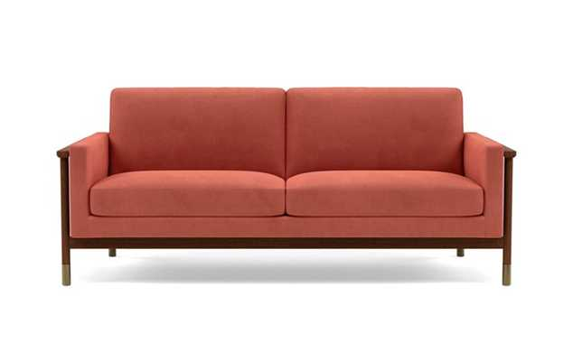 Jason Wu Sofa with Pink Coral Fabric and Oiled Walnut with Brass Cap legs - Interior Define