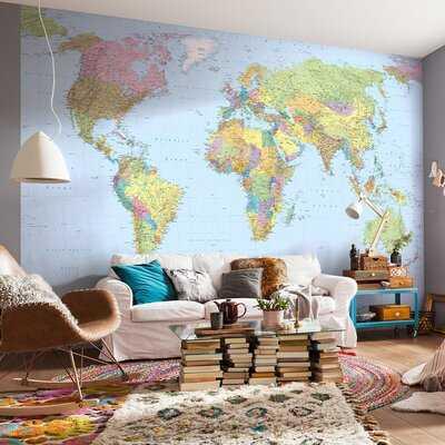 "Wolfeboro World Map 12.08' x 98"" Wall Mural - Birch Lane"