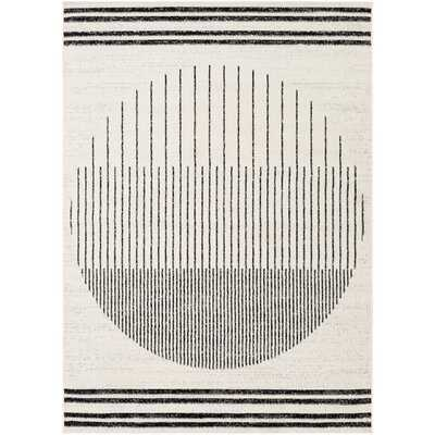Riordan Striped Black/Ivory Area Rug - Wayfair