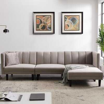 Charlette 106.7'' Velvet Reversible Sleeper Corner Sectional with Ottoman - Wayfair