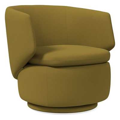 Crescent Swivel Swivel Chair, Plush Velvet, Wasabi, Concealed Support - West Elm