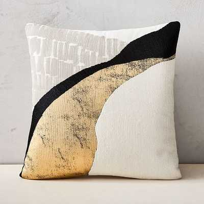 "Embroidered Abstract Path Pillow Cover, Set of 2, Stone White, 18""x18"" - West Elm"