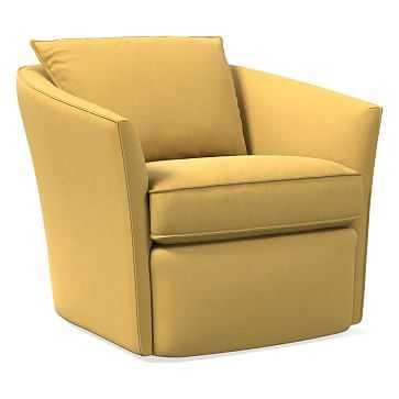 Duffield Swivel Chair, Poly, Astor Velvet, Saffron - West Elm