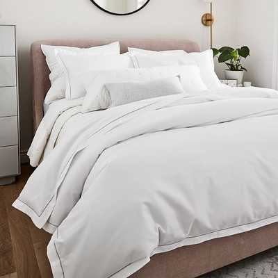400TC Sateen Embroidered Duvet & Shams & Sheet Set, White & Quilt, Stone White, Full/Queen & Full Sheets - West Elm
