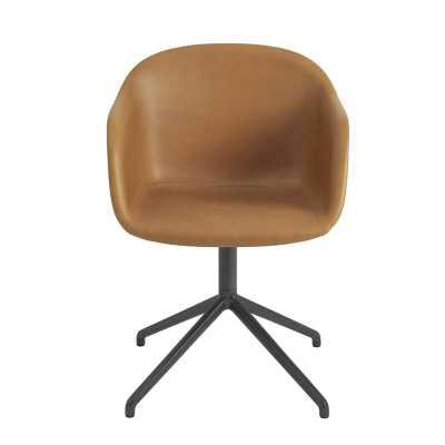 Muuto Fiber Armchair Swivel Base Upholstery Color: Refine Cognac Leather / Black - Perigold