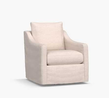 Ayden Slope Arm Slipcovered Swivel Glider, Polyester Wrapped Cushions, Brushed Crossweave Navy - Pottery Barn