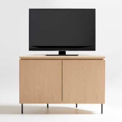 "Monbel 42"" Light Oak Corner Media Console - Crate and Barrel"