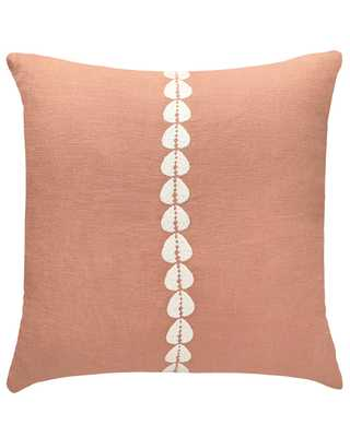 cowrie embroidered pillow in sandalwood - with insert - PillowPia