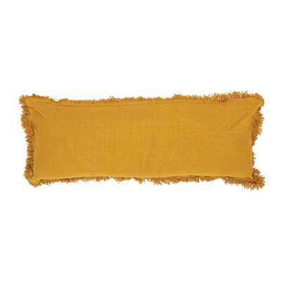 Mustard Yellow Rectangle Cotton Lumbar Pillow with Fringe - Moss & Wilder