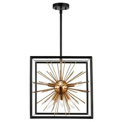 Light Society Celeste 6-Light Black/Gold Chandelier with Metal Shade - Home Depot