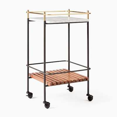 Eclipse Bar Cart, Cool Walnut, White Marble, Antique Brass - West Elm