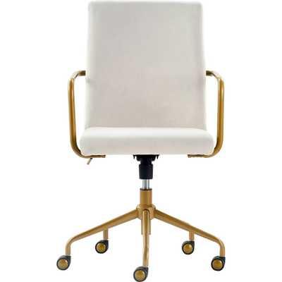 Giselle Gold Desk Chair French Cream Velvet - Adore Décor, Ivory - Target
