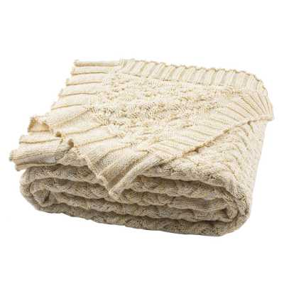 Safavieh Adara Knit 50 in. x 60 in. Natural/Gold Throw - Home Depot