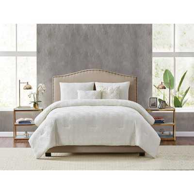 Style 212 Diamond Clipped Jacquard 5-Piece King Comforter Set, Tan - Home Depot