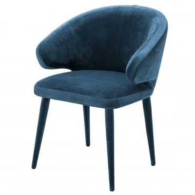Eichholtz Cardinale Modern Classic Blue Velvet Dining Arm Chair - Kathy Kuo Home