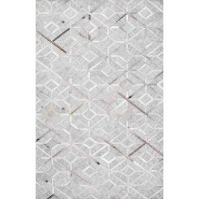 nuLOOM Chanda Cowhide Diamond Trellis Gray 10 ft. x 14 ft. Area Rug - Home Depot