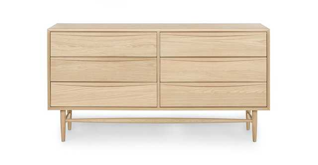 Lenia White Oak 6 Drawer Double Dresser - Article