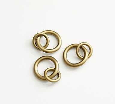 Morris Curtain Round Rings, Set of 10 - Brass - Pottery Barn