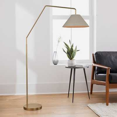 "Sculptural Overarching Floor Lamp, Fabric Cone 18"", Natural, Antique Brass - West Elm"