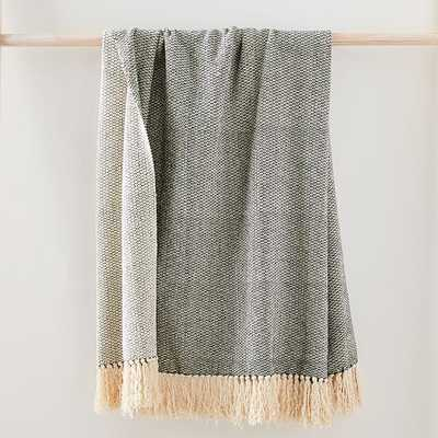 "Pebble Texture Throw, 50""x60"", Black & Natural - West Elm"