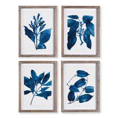 'Indigo Botanicals' - 4 Piece Picture Frame Print Set on Paper - Wayfair