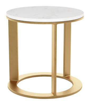 Helena Side Table White & Gold - Zuri Studios