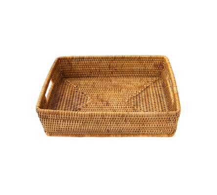 Summerville Handwoven Rattan Rectangular Storage Basket, Small, Natural - Pottery Barn